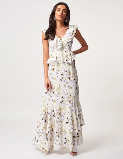White and Green Floral Cape Sleeved Ruffle Maxi Dress