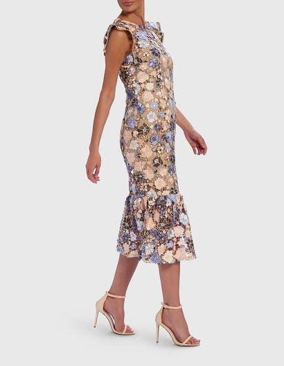 Nude and Blue Floral Embroidered Lace Drop Hem Midi Dress