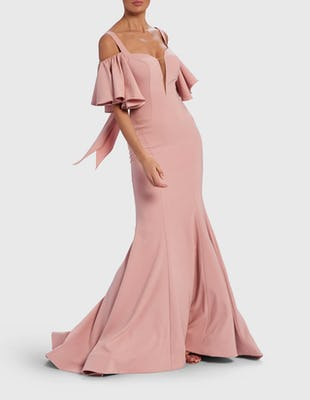 Soft Pink Cold-Shoulder Frill Sleeve Maxi Dress