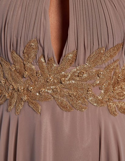 Taupe and Gold Sequin Embellished Halter-Neck Maxi Dress