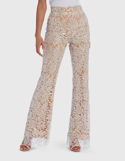 White Sequin Floral Lace Embroidered Tailored Suit Trousers