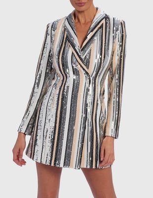 Nude and Silver Sequin Striped Embellished Blazer Dress