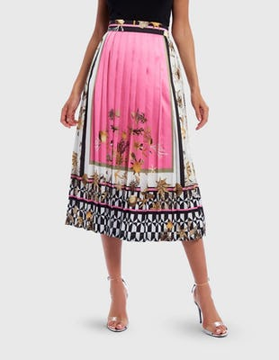 Pink and White Multi Star Print Satin Midi Skirt