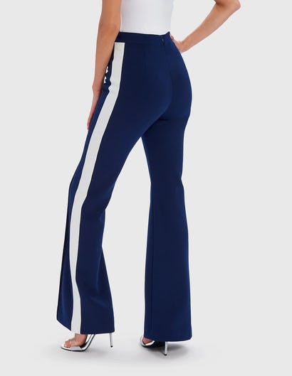 Navy and White Side Stripe Wide Leg Tailored Trousers