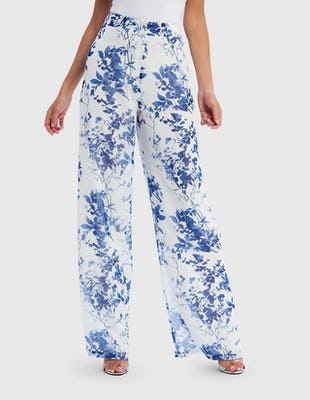 Blue and White Floral Print Wide Leg Trousers