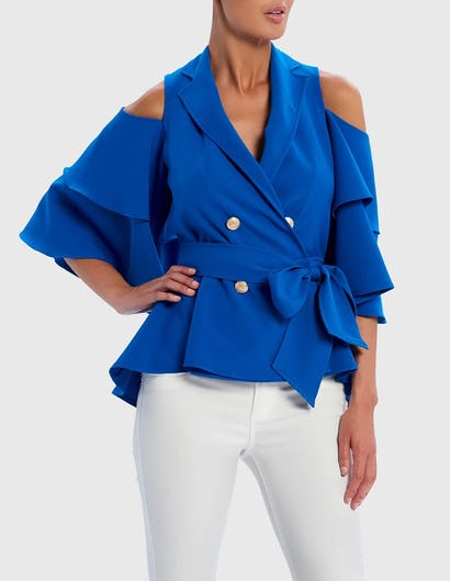 Blue Cold-Shoulder Ruffle Military Jacket with Waist Belt