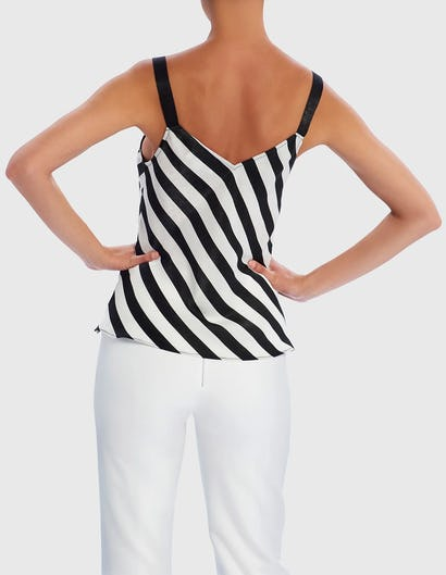 Black and White Striped Camisole Top