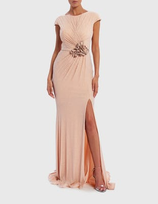 Nude Backless Glitter Floral Detail Maxi Dress