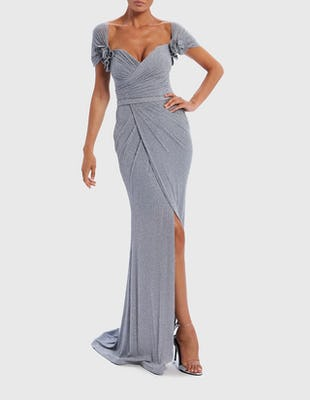 Grey Metallic Shimmer Capped Sleeve Maxi Dress