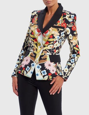 Black Multi Floral Print Structured Blazer Jacket