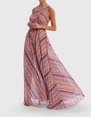 Rainbow Multi Striped Crossover Halter Neck Maxi Dress
