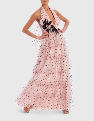 Pink and Black Polka Dot Embroidered Ruffle Maxi Dress