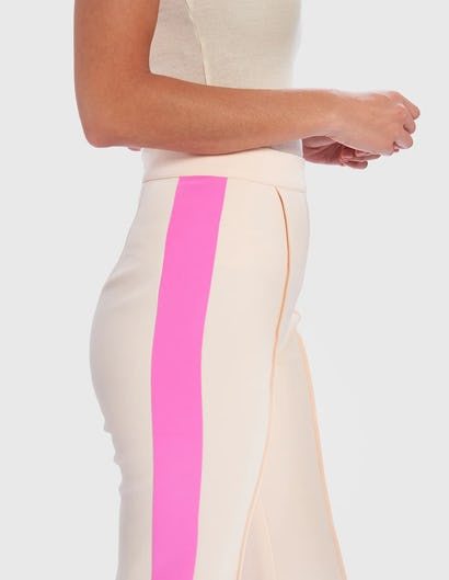 Pink and Nude Side Stripe Wide Leg Tailored Trousers