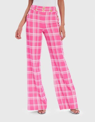 Pink and White Tartan Military Wide Leg Trousers