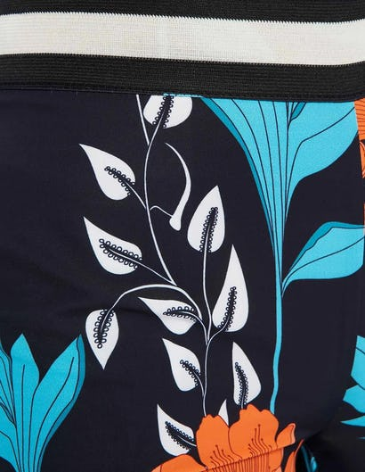 Blue and Orange Floral Print Wide Leg Trousers