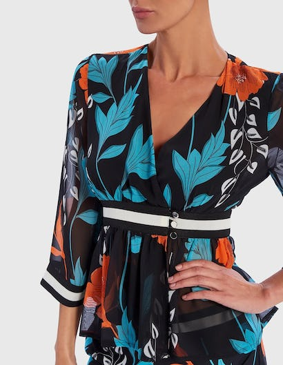 Blue and Orange Floral Print Wrap Blouse with Striped Waist Belt