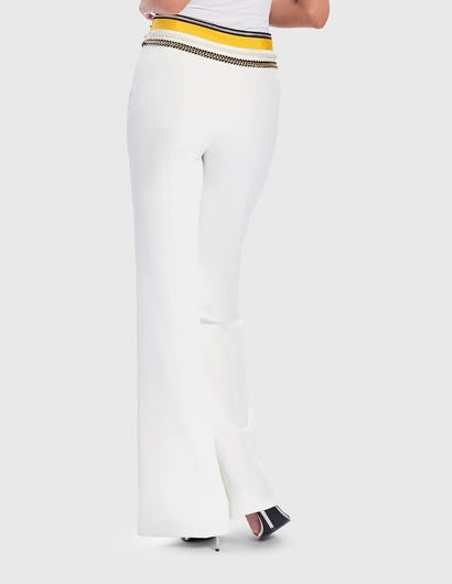 White and Yellow Tailored Suit Trousers with Embellished Waistband