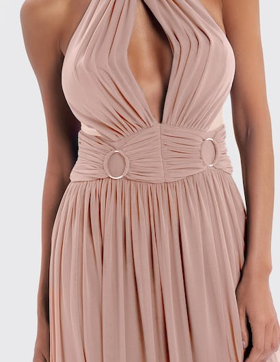 Nude Keyhole Cut-Out Maxi Dress with Ring Detail