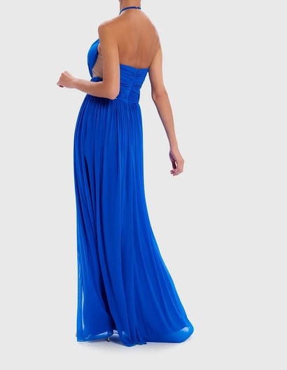 Blue Keyhole Cut-Out Maxi Dress with Ring Detail