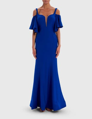 Blue Cold-Shoulder Frill Sleeve Maxi Dress