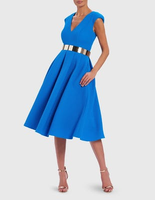 Cobalt Blue Perforated Midi Skater Dress