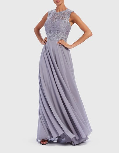 Grey Embroidered Lace Contrast Maxi Gown