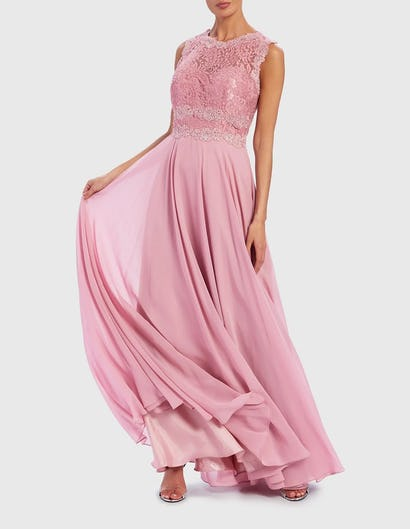 Pink Embroidered Lace Contrast Maxi Gown