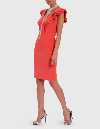 Coral Ruffle Bodycon Midi Dress with Diamante Embellished Neckline