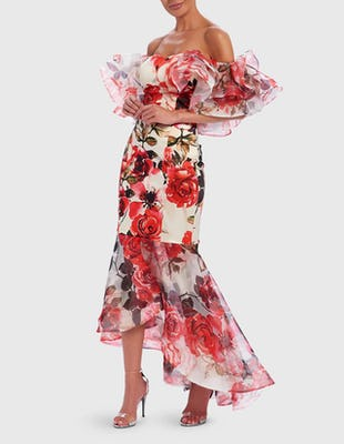 Floral Rose Print Off-Shoulder Ruffle Fishtail Maxi Dress