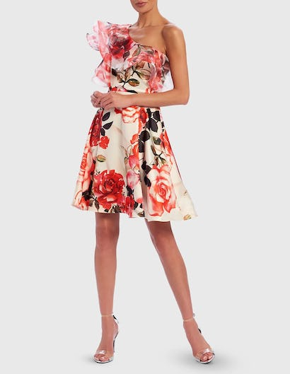 Red and White Floral Rose Print Exaggerated One-Shoulder Ruffle Skater Dress