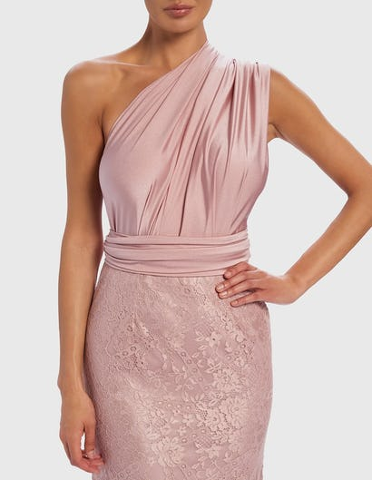 Pink and Lace Contrast Multi-Way Evening Gown