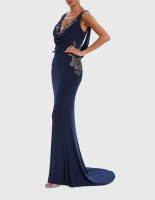 Navy Blue Cowl Neck Silver Embellished Evening Dress