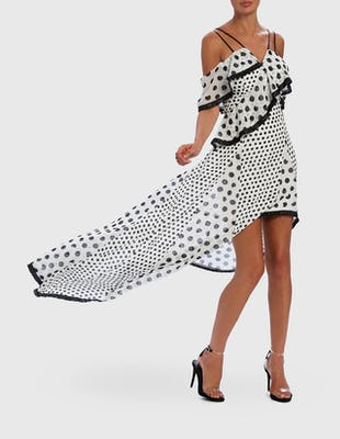 White and Black Polka Dot Cold-Shoulder Ruffle Midi Dress