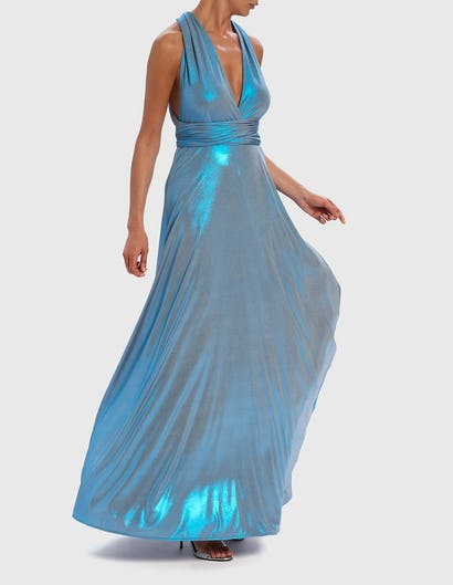 Metallic Blue Multi-Way Maxi Evening Gown
