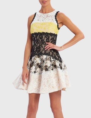 Black, Yellow and White Contrast Lace Skater Dress