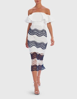 White and Blue Off Shoulder Lace Midi Dress