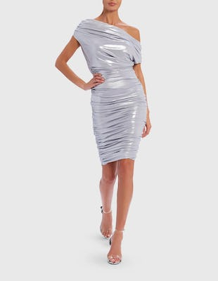 Silver Off-Shoulder Ruched Midi Dress
