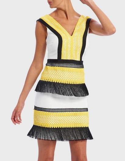 Yellow, Black and White Tassel Shift Mini Dress