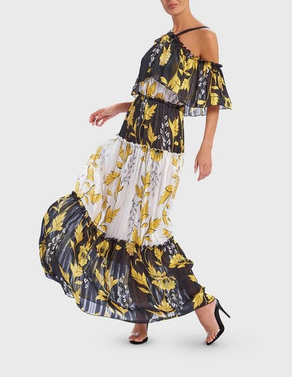 Black, White and Yellow Leaf Print Cold-Shoulder Ruffle Maxi Dress