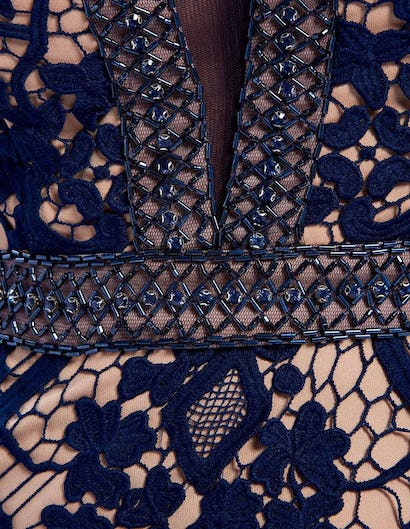 Navy Lace Embroidered Embellished Evening Gown