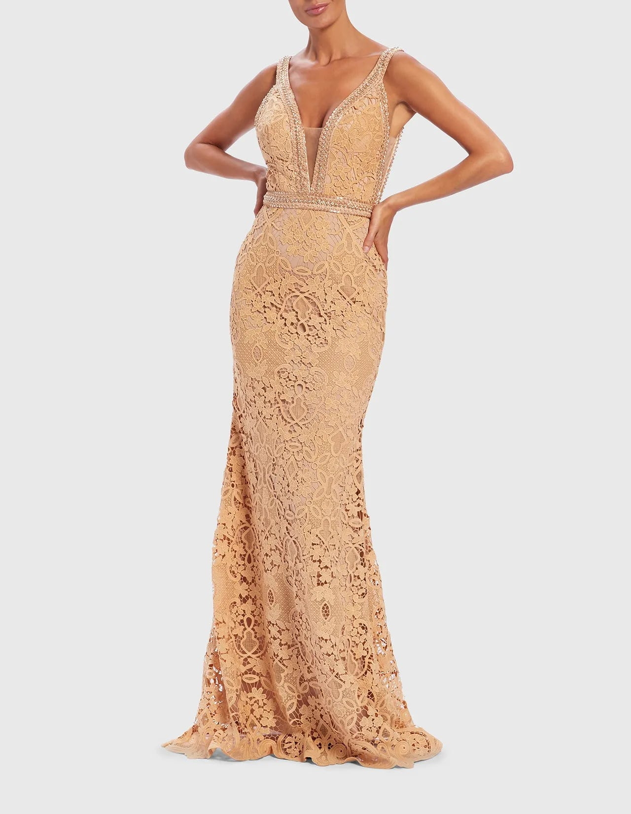 UNIQUE-Nude-Lace-Embroidered-Embellished-Evening-Gown-8