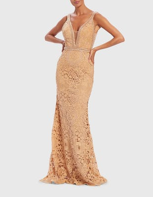 Nude Lace Embroidered Embellished Evening Gown