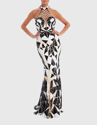 Black and White Geometric Sequin Embellished High-Neck Maxi Dress