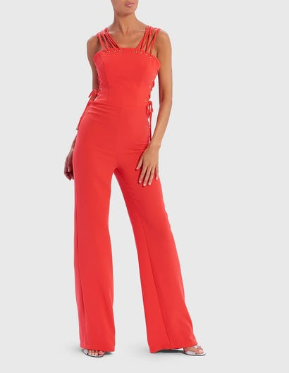 Coral Lace-Up Eyelet Detail Jumpsuit