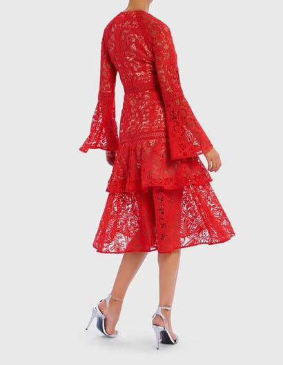 Red Lace Embroidered Ruffle Midi Dress