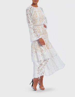White Lace Embroidered Ruffle Midi Dress