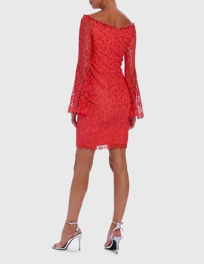 Coral Off-Shoulder Lace Embroidered Mini Dress