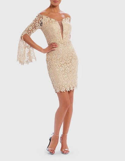 Gold Off-Shoulder Lace Embroidered Mini Dress