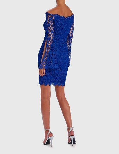 Blue Off-Shoulder Lace Embroidered Mini Dress
