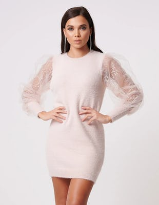 Pink Knitted Jumper Dress with Netted Statement Sleeves